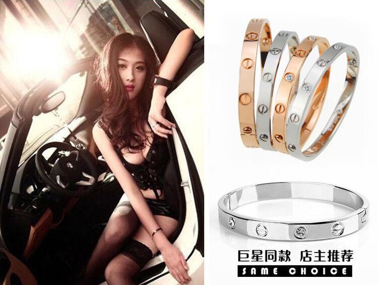 Bracelet - Novelty Gold-plated Stainless Steel Women's Cuff Bangle Jewelry Crystal Bracelet