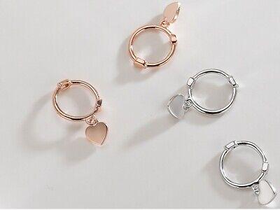 Women Girl Sterling Silver Dangle Heart Charm Hoop Stud Earrings Gift Box F28