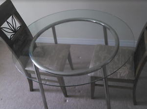 Round glass table + dinning chairs More than 50% off!