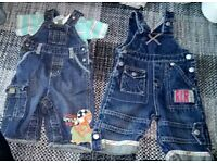 2 pairs of Little rocher dungarees 0-3 months