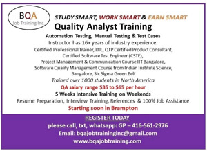 QUALITY ANALYST SOFTWARE TESTING COURSE STARTING SOON  BRAMPTON
