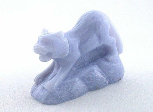 BLUE LACE AGATE CAT TIGER CARVING CARVED GEMSTONE GEM STONE NATURAL EBS5739