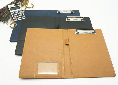Leather Portfolio Padfolio Folio Case Business With Clip A5 Daily Organizer