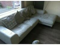 White REAL LEATHER - Corner Sofa and chair - Delivery available