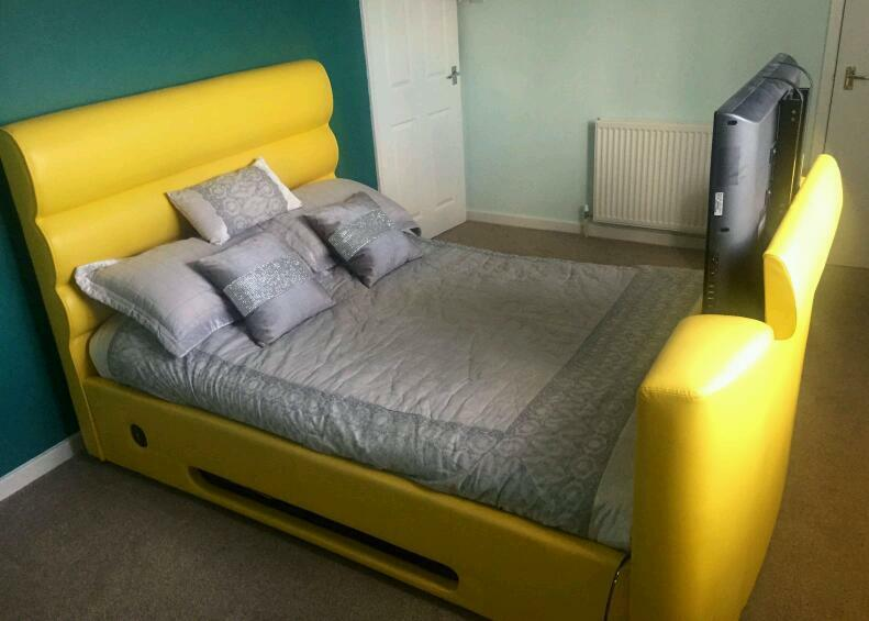 barcelona yellow bedframe with lg tv - Yellow Bed Frame