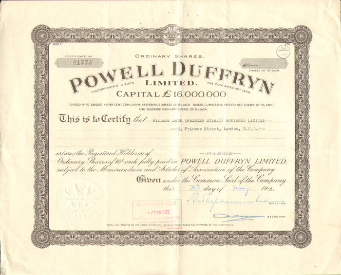 Powell Duffryn Limited > PD Ports stock certificate share > 1958 England