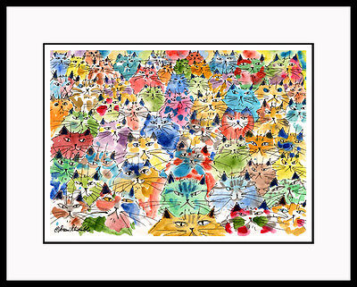 SPICE OF LIFE Whimsical Colorful Cats Med CAT ART print CatmanDrew Drew Strouble