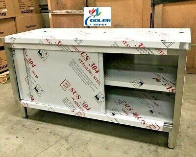 New Commercial Stainless Steel Work Prep Table Cabinet 72 X 24 Dual Slide Door