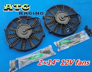 2-14-12V-Slim-electric-Radiator-Cooling-Fan-GTI-V8-GTR-GTS-Mounting-kit