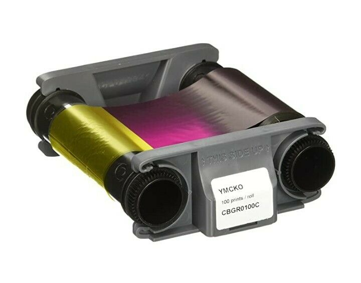Genuine Evolis Badgy100 / Badgy200 YMCKO Ribbon + PVC Card Set - CBGP0001C - New