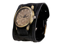 Essential New Style Retro Punk Rock Black Big Wide Leather Cuff Men Cool Watch