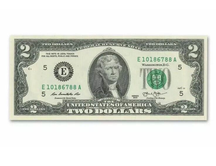 CRISP 2013 UNCIRCULATED USA $2 TWO DOLLAR BILL NOTE SEQUENTIAL ORDER NEW RARE!!!