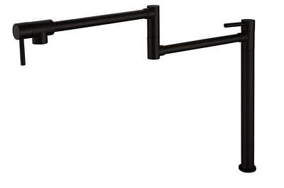 Deck Mounted Brass Black Pot Filler Kitchen Faucet Universal Telescopic Sink -