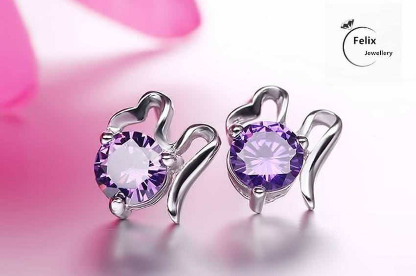 Jewellery - Purple Crystal Bow Earrings Ear Stud 925 Sterling Silver Jewellery Womens Gifts