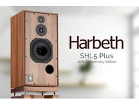 HARBETH SHL5+ 40TH ANNIVERSARY LIMITED EDITION SPEAKERS 6 WEEKS OLD WITH FREE STANDS