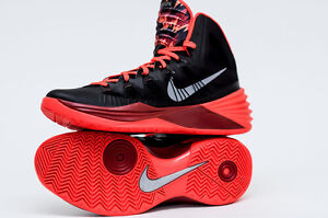 NEW! NIKE MENS HYPERDUNK 2013 PP BLACK, MTLLC SLVR, GYM RED, SIZE 11