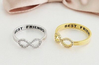 Best Friends Infinity ring, Friendship, Cubic Zircon Ring - Price for one piece