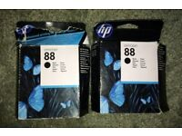 HP88 Officejet Black Cartridges x 2 C9385AE. Expired April 2012.