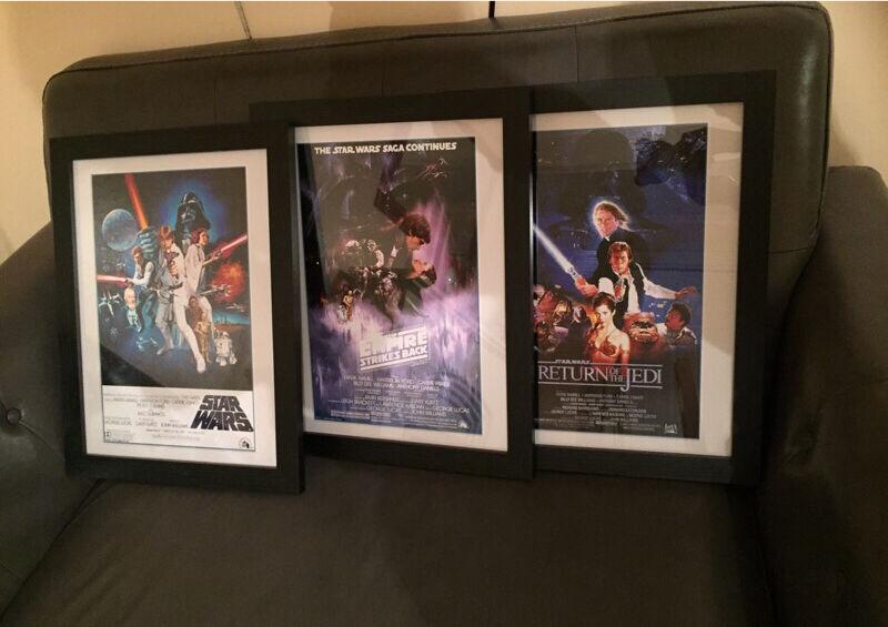 Set of three star wars starwars framed film posters black matte frame