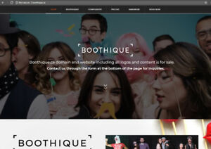 Amazing photo booth domain name and website for sale - Boothique