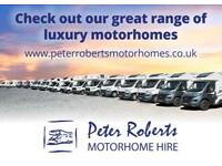 Motorhome Hire - range of luxury 2018 4 or 6 berth models