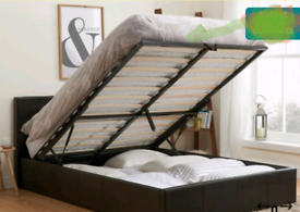 Double leather ottman storage bed frame with mattress. Delivery avail