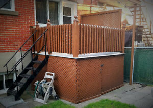 DECORATIVE WOOD BALCONY RAILINGS AND METAL POST FOR CLOTHES LINE