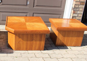 Two matching oak end tables