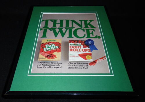 1987 Sunkist Fruit Roll Ups / Fun Fruit Framed 11x14 ORIGINAL Advertisement