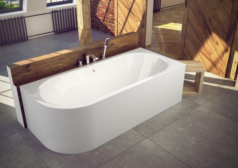 Eckwanne Badewanne 150x75 170x75 Acryl Schürze Rechts Links Viega Füße Modern