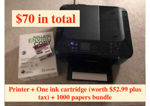 ALL IN ONE Canon Printer+One ink cartridge+1000 papers bundle