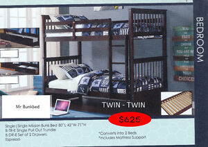 BUNKBEDS SOLID WOOD! - TWIN AND DOUBLE STYLES!