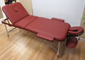 "3-Section Red Aluminum 84""L Portable Massage Table Bed w/ Carr"