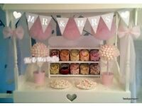 GORGEOUS TEDDIPOMPOM CANDY BUFFET CART NOW AVAILABLE TO HIRE.. £200.. FOR PARTIES OR EVENTS