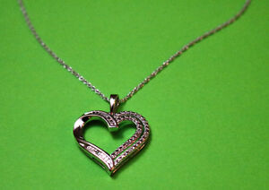 Diamond Heart Necklace & Ring (Jewellery) in Sterling Silver