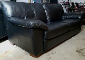 High quality 3 pieces black leather sofa set