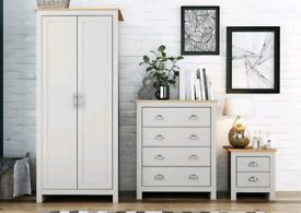 BRAND NEW Grey 3 Piece Bedroom Set - 2 Door Wardrobe, Chest & Bedside