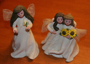 """Kneeded Angel Figurines, """"Special Friends"""", """"Forever Friend"""""""