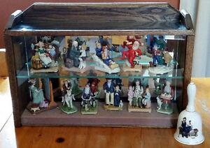 11 Norman Rockwell Figurines, Bell & Custom Display Case