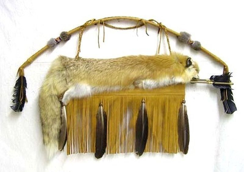Native American Cherokee Made Full Red Fox Fur Leather Quiver, Arrows & Bow Set