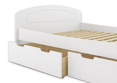 Funktionsbett waschweiß 160x200 Doppelbett + 3 Staukästen + Rollrost 60.50-16W