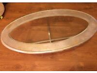 Silver wooden & glass coffee table