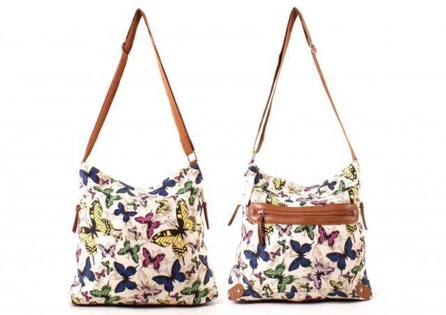 WOMEN'CREAM CHARLEY CLARK SHOULDER BAG BEACH WEEKENDBAG BUTTERFLY DESIGN CANVAS