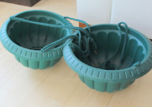 Pair of green hanging planters, $ 6 for both
