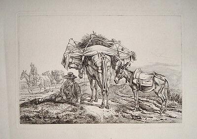 1832 Johann Adam Klein Rastender Bauer mit Lasttieren Signed  Signiert Kupfer