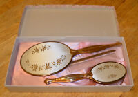 Vintage HAND MIRROR, BRUSH + COMB Set in Original Box
