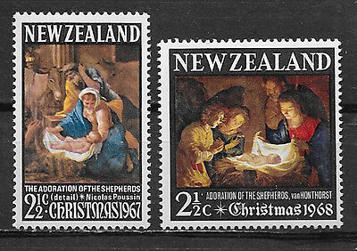 NEW ZEALAND, CHRISTMAS , 1967& 68 , SET OF 2 STAMPS , PERF , MNH