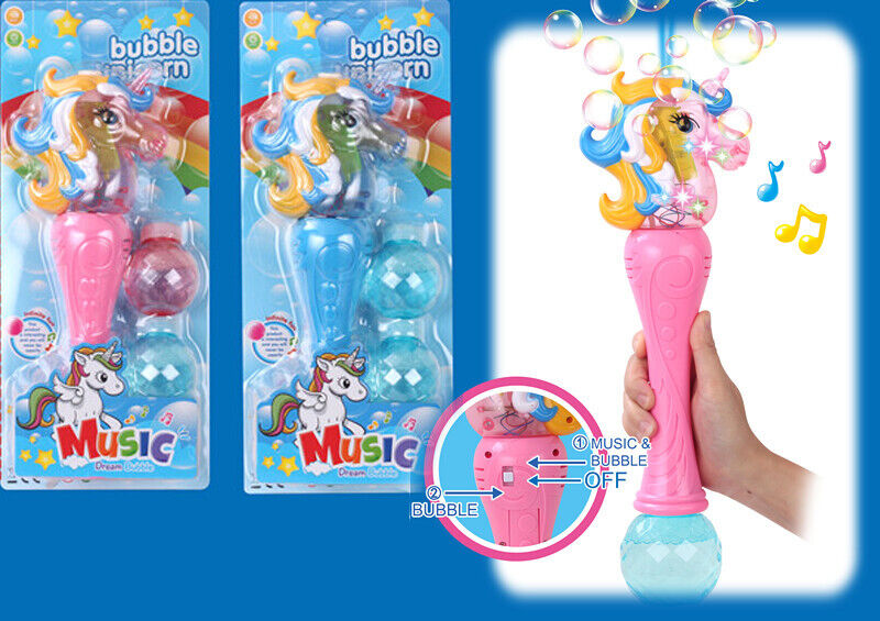 Blue Unicorn Bubble Blaster Shooter Music Sound Flashing Led Lights