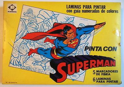SUPERMAN COLORFORMS SET - PINTA CON SUPERMAN DC 1970s UNOPENED Argentina MIB