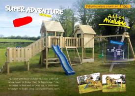 Kids wooden climbing frames swings slides playhouses Bridge cargo net